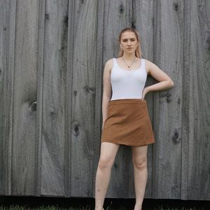 Altar'd state brown faux suede skirt mini
